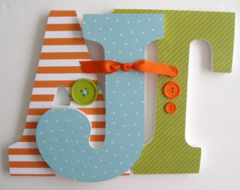 Wooden Nursery Letters - Orange, Green, and Blue - Custom Wood Letter Set