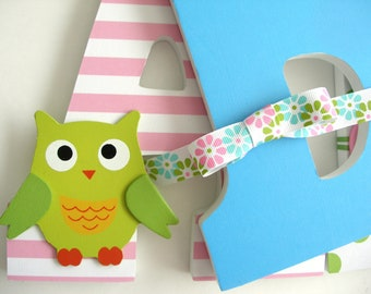 Baby Girl Wooden Letters for Nursery - Pink, Lime Green, and Blue - Custom Letter Set