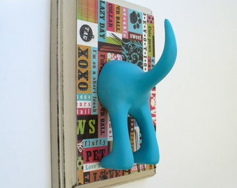Dog Tail Leash Holder - X0X0 PatchWork Paws - Personalize it with Optional Letter Tiles