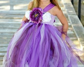 Purple Couture  Elegant Flower Girl Tutu Dress w/lavender and white accents- Large Peony ,Roses & Feathers- wedding, First birthday,