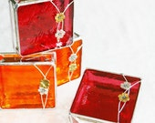 Bridal Attendants Gifts Stained Glass Boxes Set of Four Fuschia Pink Tangerine Orange Made To Order Bridesmaid Gift Idea