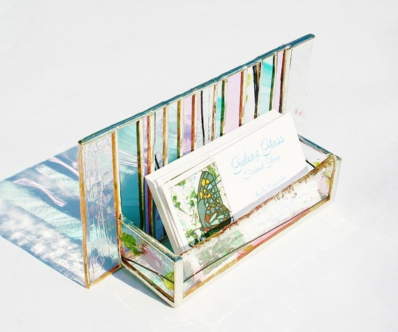 Stained Glass Business Card Holder Pink Green Confetti Art Glass Office Desk Accessory Handmade OOAK Striped