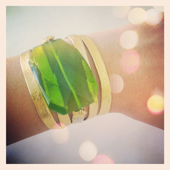 Peridot Quartz & Gold Leather Wrap Bracelet