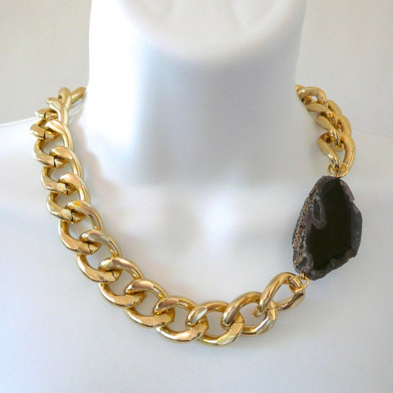 chunky gold chain link black agate by elizabethstonejewels