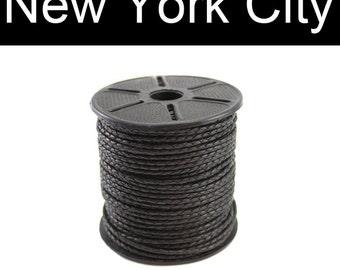 2.5mm Black Bolo Braided Leather Cord - 1 yard, 2 yards, 5 yards, 10 yards, 25 yards or 55 yards, You choose length CB0250BLK