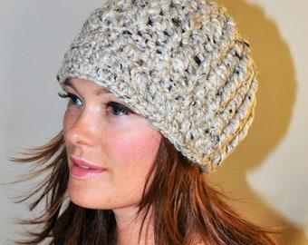 Brim Beanie Brim Hat Newsboy Cap Crochet Winter Women CHOOSE COLOR Oats Oatmeal Natural Nature Girly Gift under 50