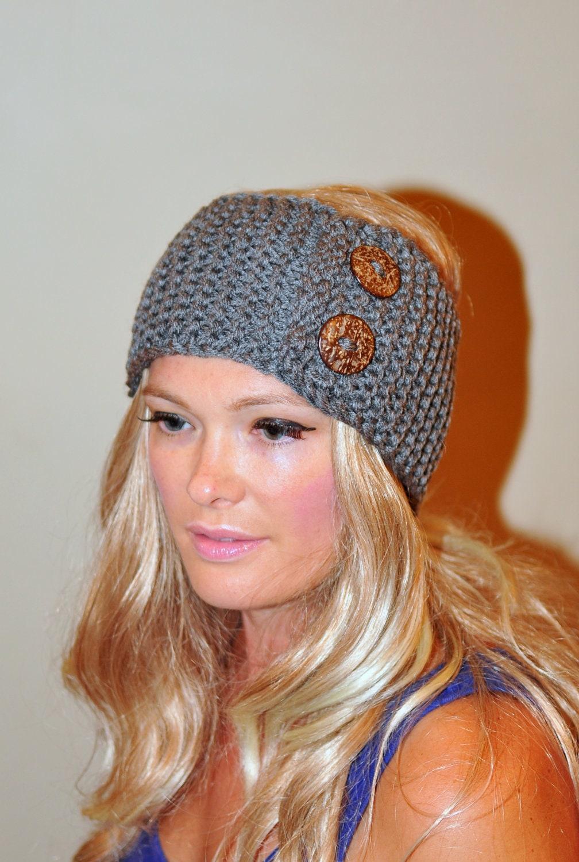 Earwarmer Buttons Head wrap WOOL Crochet Headband Ear warmer