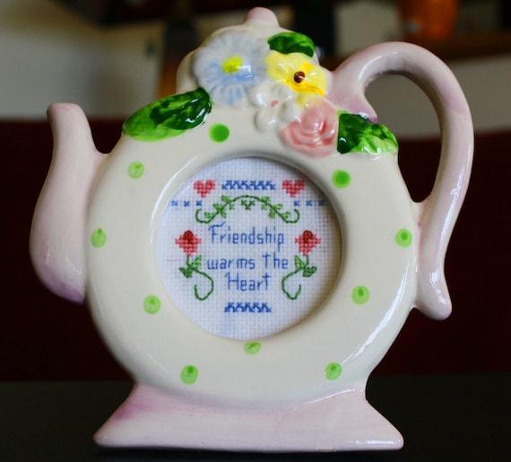 Friendship Cross Stitch Framed Teapot