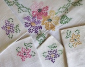 Vintage Sweet Floral Cross Stitch Mid Century Tablecloth and 4 Napkins