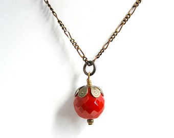 Red Necklace - Red Bead Necklace - Antique Brass Necklace - Red Pendant Necklace - Ruby Red Necklace - Nickel Free Necklace - Single Bead