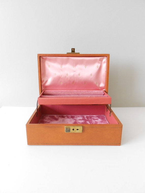Brown Pink Faux Leather Jewelry Box