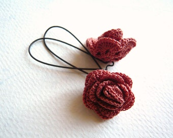 Crocheted Earrings - Harvest Rose - Handmade Jewelry - Terracotta - Floral - Long Dangle