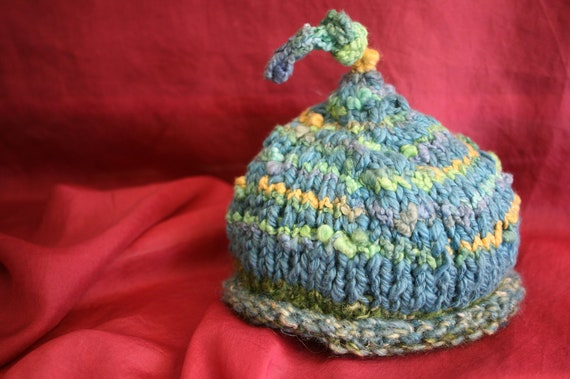 Knotted Gnome Baby Hat. Size 0-3 months,. Supersoft cotton. Hand-knit.