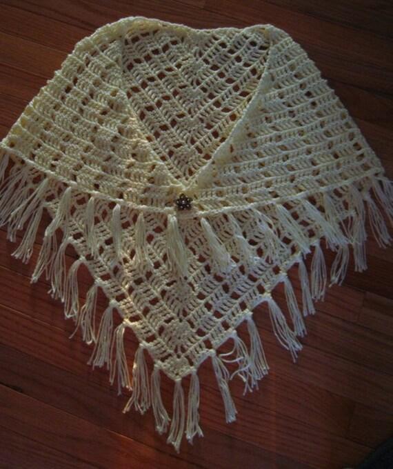 Crocheted Shawl, Triangular Shawl, Off White Shawl, elegant and soft