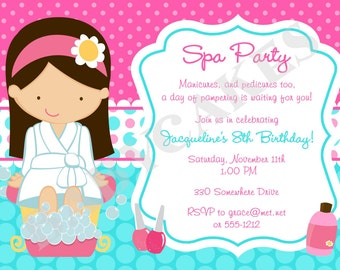 Spa Party Invitation - Spa Birthday Party - Spa invitation - DIY Print Your Own - Choose your girl
