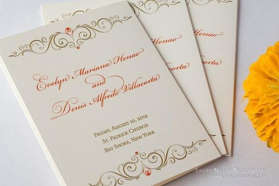 Orange bronze antique gold leaf Wedding Reception Ceremony Programs Program Mass Booklets Booklet Pamphlets Pamphlet