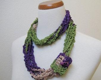 Green, Purple & Beige Long Scarf