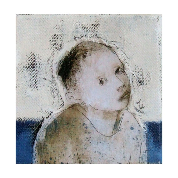 "BOY original  mixed media canvas  portrait 4""x 4"""