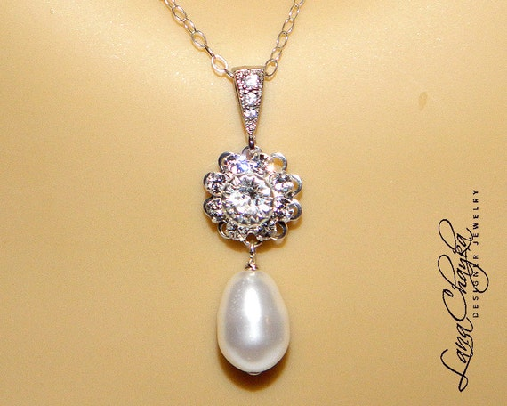 RESERVED Wedding Mother of The Bride Gift Necklace Swarovski Pearl 925 Sterling Chain Swarov Crystal Flower Connector cz FREE US Shipping