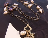 Coco on a Swing - Obsidian Gold link chain Pearl Necklace