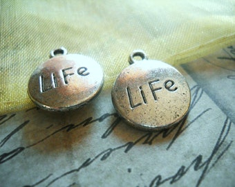 Word Charms LIFE Charms Antiqued Silver Circle Charms Message Charms 4 pieces Inspirational Charms Silver Charms Silver Word Charms