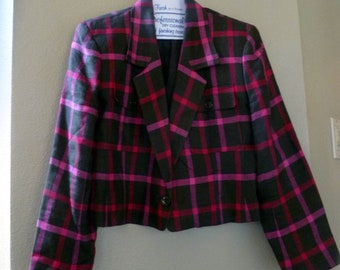 Cropped Jacket, Pink and Brown CHECK, Women's 8 Petite