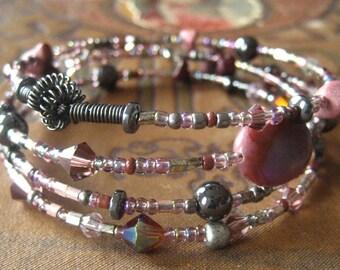 Beaded Memory Wire Hematite and Rose Lavender Plum Bracelet