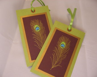 Peacock Gift or Wine Tags set of 2 Ships Free with any other item