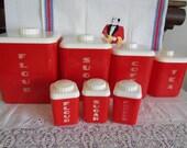 1950's Retro Red & White Lustro Ware Plastic Cannister Set
