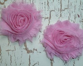 Chiffon Rosettes - Treasury Featured - Shabby Vintage Style - PINK - Set of Two