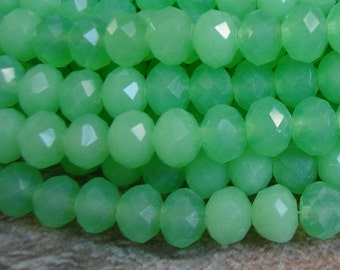 15inch-Green Aple Quartz Glass Faceted Rondelle Beads...8mmx6mm.