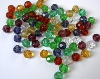 120pcs-Glass Beads Faceted Round Mix Color 6mm.