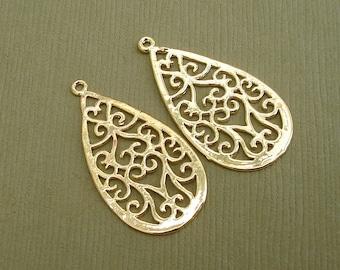 2pcs-Original 14K Gold Plated Oriental Teardrop Pendant, Bright.