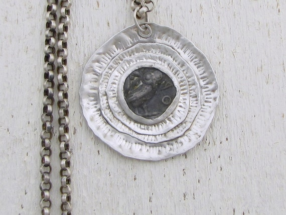 Silver Coin Necklace, Round Handmade Silver Ethnic  Pendant, Silver Pendant Necklace, Made in Iarael