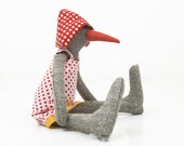 Gray bird Or maybe  duck or a penguin from Woven silk with Dotted hat wearing a floral dress - handmade fabric doll