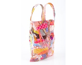 Eco gift - upcycled Small Tote Handbag , Crazy Patchwork , Recycled Colorful Cotton scraps from the studio  - all Handmade