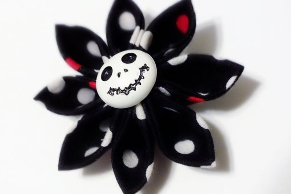 Jack Skeleton Hair Clip Black Red and White Polka Dots SALE