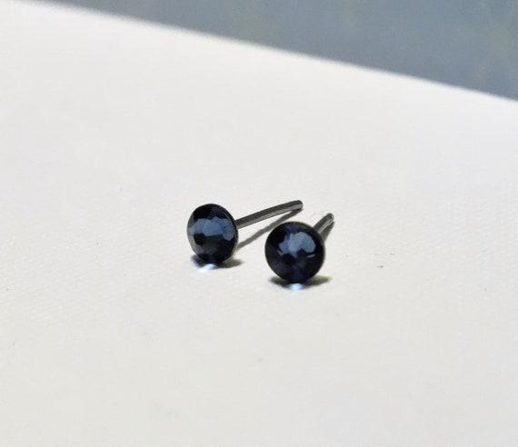 Surgical Steel  Denim Blue Swarovski Crystal Stud Earrings