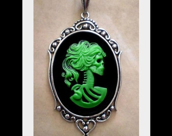 Lolita Skeleton Cameo Necklace - Victorian Zombie - Gothic Green Black