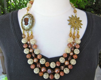 Statement Necklace, Vintage,Cameo, Gold, Bronze, Multi Strand, Lavered, Jennifer Jones, OOAK, Coupon Code, Copper - SALE - The Gilded Lady