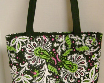 Purse Boutique style in Parisian print with a Pop of Pink and Green Curvy Bottom
