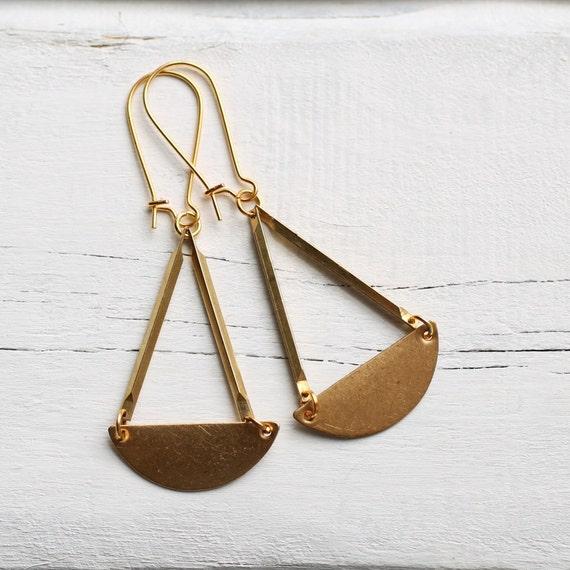 Deco Geometric Earrings ... Vintage Brass Gold Shapes