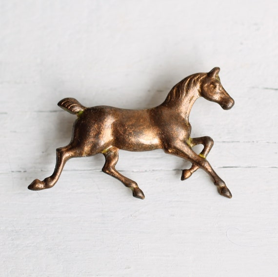 Little Horse Brooch ... Vintage Brass Pony Stamping  with Antique Gold Black Patina