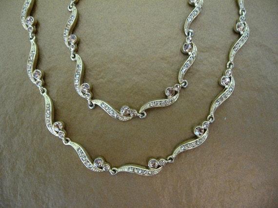 Vintage Amber Rhinestone Link Necklace and Bracelet Set
