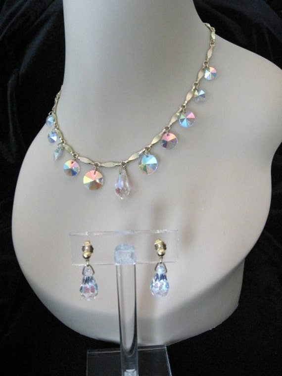 Vintage Sarah COVENTRY Jewelry - Crystal Fire - Ab Rivoli Crystal Necklace and Earrings Set
