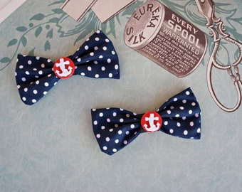 Olivia Paige -  Sailor navy Pin up ANchor polka dot shoe clips