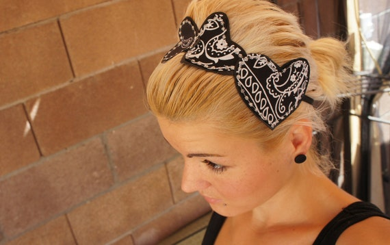 Olivia Paige -  Rockabilly Pin up leather bandana hearts headband
