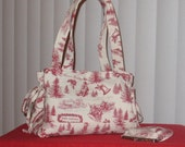 Quilted Bow Tuck Christmas purse bag tote  With Matching  4 inch coin purse