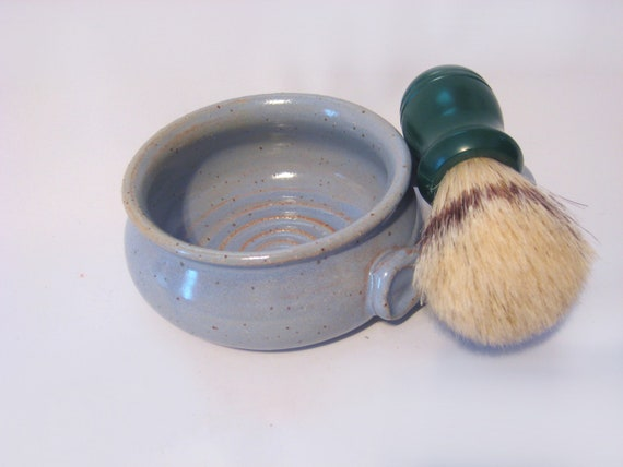 Shaving Mug with Ridges for Good Soap Lather, Comfort Shave - Sky Blue, Speckled, Handled