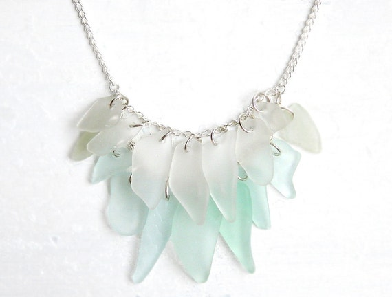 Handcrafted Sea Glass Fringe Necklace -  Seafoam Green & White Chesapeake Bay Seaglass Jewelry